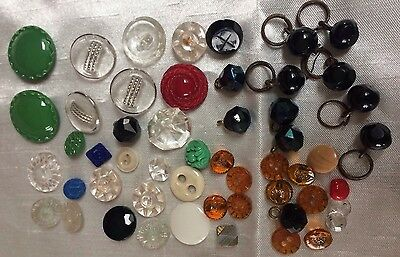 Victorian & Later Vintage Glass Buttons,lot Of 52 Antique Glass French Tinys Etc