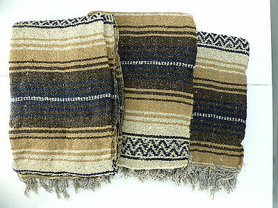 Lot of 3 Authentic Mexican Falsa Blankets Southwestern Brown/Navy/Tan NEW