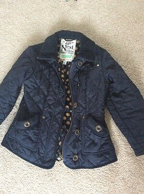 Next Quilted Jacket Navy Age 7-8 Girls Or Boys