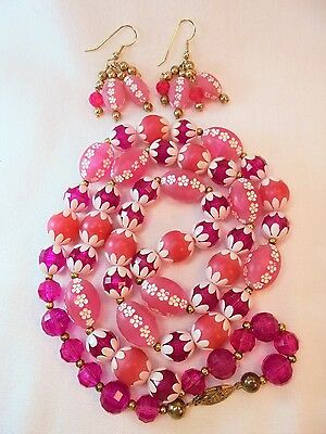 Vintage PINK CELLULOID PLASTIC LUCITE Tulip FLOWER Carved Necklace/Earrings Set!