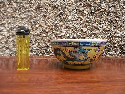Chinese Famille Rose Yellow Rice Bowl With Two Dragons In Mint Condition!