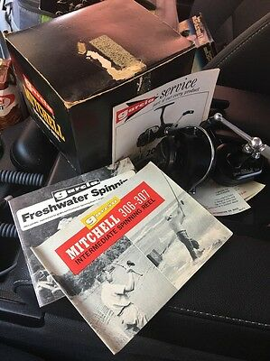 New In Box! VINTAGE MITCHELL GARCIA 206 SPINNING REEL W/ Manuals Etc