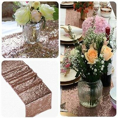 12''x108'' Sparkly Rose Gold Sequin Table Runner For Party Wedding Decoration