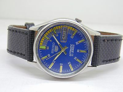 seiko 5 men's steel vintage japan made BLUE   dial wrist watch run order