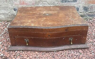 Antique Wooden Cutlery Canteen With Lift Top & Drawer - Great Brass Handles
