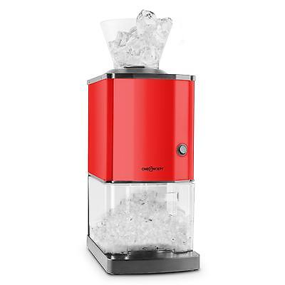 ICE CRUSHER GRINDER 15 kg / h 3.5 L ICE-CUBE BUCKET PUB BAR HOME RED STEEL NEW