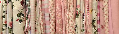 """90 LAURA ASHLEY FABRIC ASSORTED 4"""" PINK PATCHWORK SQUARES with iNSTRUCTIONS"""
