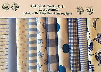 LAURA ASHLEY BLUE CHARTRES FABRIC 80 piece PATCHWORK QUILTING KIT+ iNSTRUCTIONS