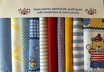 LAURA ASHLEY FABRIC & TEDDY BEARS PATCHWORK QUILTING KIT PACK + instructions