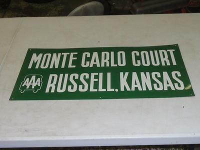 Vintage Monte Carlo Motor Court Motel Russell Kansas AAA Sign Hotel Ford Oil Gas