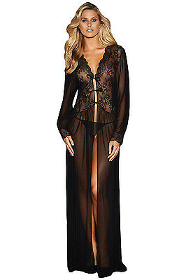 Black Sheer long sleeve Lace Robe Gown Lingerie Erotic wear Pole Dancer Size S M