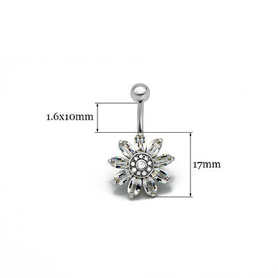 infOUK Belly button rings[Blooming Sunflower] Navel piercing body jewelry