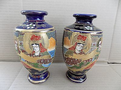 Pair of Antique Japanese Satsuma Hand Painted Vases