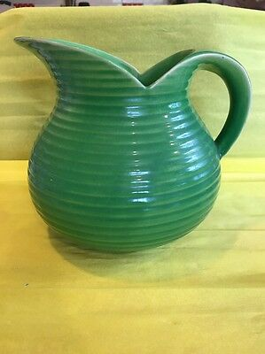 A Large Art Deco Shorter  And Sons Ribbed Green Large Jug