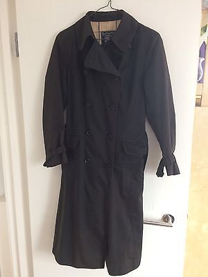 Original 70's Vintage Black Burberry Mac Coat Size 12