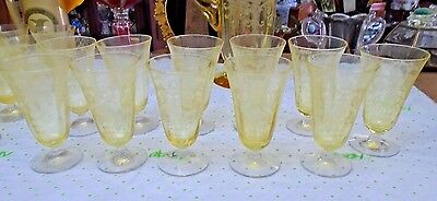 Set of 11 Fostoria Versailles Yellow Topaz Etched Footed Juice Tumbler Glasses