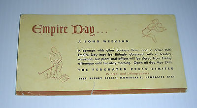vintage EMPIRE DAY FEDERATED PRESS ad blotter Montreal Canada week end golf