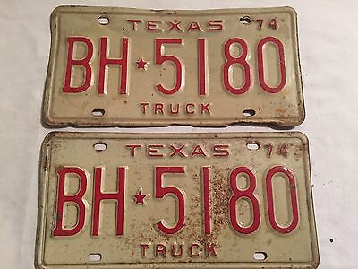 Vintage 1974 Pair Texas Truck License Plates Rat Rod Mancave Rustic BH 5180