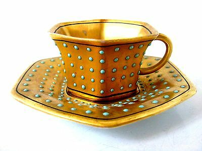 Very Beautiful Coalport Or Dresden Style Jewelled Miniature Cup Turquoise Dots