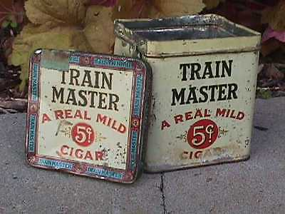 TRAIN MASTER Cuban Cigar Antique Colorful TIN+Lid c1930s COMPLETE Tin Box AS IS