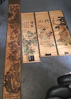 Antique Chinese Hanging Scroll Painting Lot