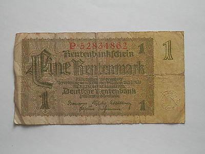 1937 Ww2 Nazi Era  German Banknote 1 Rentenmark , Berlin 1937