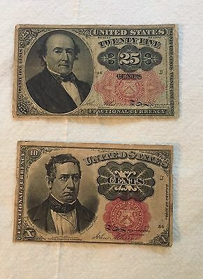2 Series Of 1874 United States Fractional Currency 10 & 25 Cent