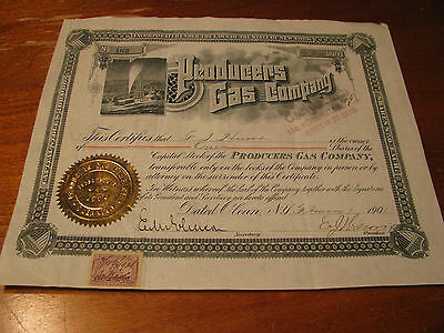 """1901 """"Producers Gas Company"""" No. 183 One Share Stock Certificate"""
