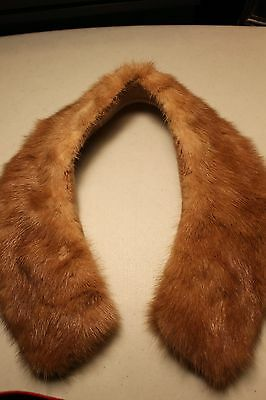 Genuine Real Fur Mink Collar Light Brown Mint Beautiful!