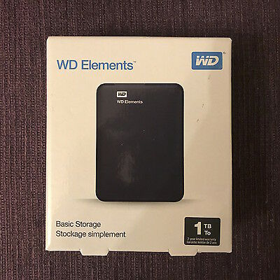 New WD Elements 1TB External USB 3.0 Portable Hard Drive, WDBUZG0010BBK-WESN