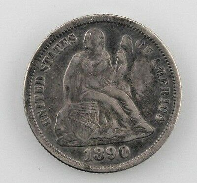 1890 Silver Seated Liberty Dime 10C (Very Fine, VF Condition)