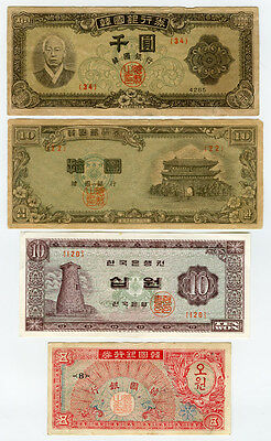 South Korea 1952-62 Issue 4 Scarce  Banknotes  Lot.