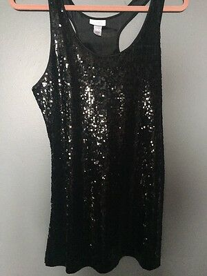 La Senza Black Sequin Camisole Top Dress  Size Large