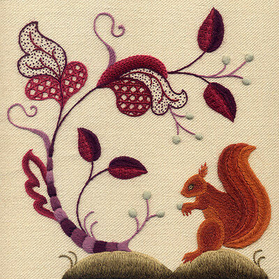 """Crewelwork Embroidery Kit """"An Autumnal Gathering"""" By Melbury Hill"""