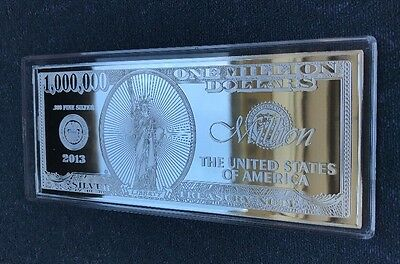 2013 $1,000,000 4 oz .999 Silver Proof - One Million Note Design Four Ounce Bar