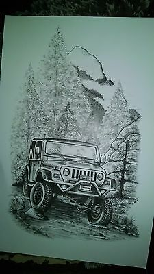 hand drawn wilderness jeep drawing copy 11x17 ready and numbered 1-500 signed