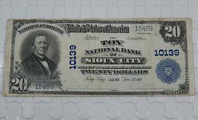 Series 1902 $20 Dollar National Bank Note 10139 Toy NB Sioux City , IA P0056