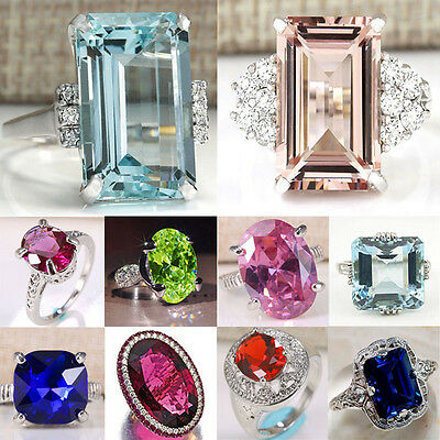 Woman Huge Princess Cut 925 Silver Aquamarine Ruby Wedding Bridal Ring Size 6-10