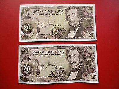 Austria two banknotes both 20 schillings  (ref p132)