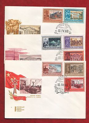 USSR 1969 3 First Day Covers Lenin Places