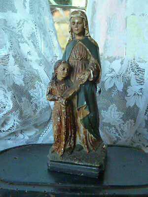 Antique Polychrome Chalkware Religious Statue of St Anne with Mary