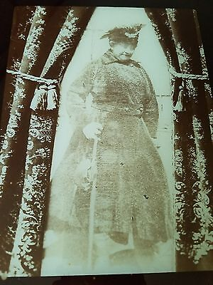 Antique Victorian Photograph Flue Cover Old Woman w/Cane & Ghost in Image 12×14