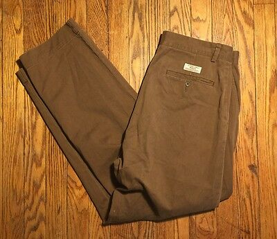Ralph Lauren Polo Chinos Men's Size 32 X 30 Brown Flat Front Work Casual Pants