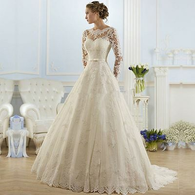 Beautiful New White/Ivory wedding dress bridal gown Stock size 4 6 8 10 12 14 16