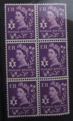 NORTHERN IRELAND  PRE-DECIMAL   NI 1  1958  3d  MNH  BLOCK  OF 6
