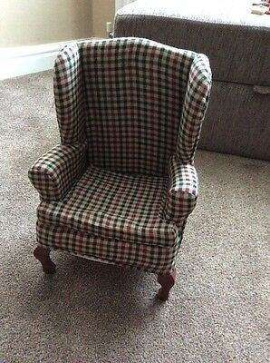 """Checked Wing Backed Chair for Doll/Teddy Bear Display 15"""" Tall."""