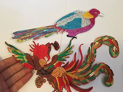 2 large bird patches sequin patch applique iron on sew motif badge sewing craft