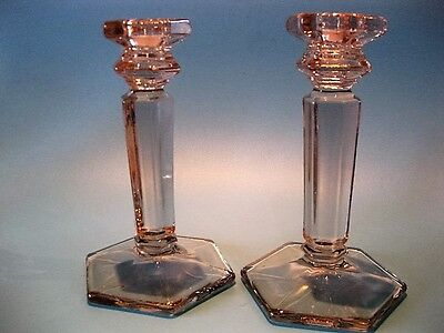 Stunning Quality Pair Vintage Art Deco 1930's Glass Pillar 6 Sided Candlesticks