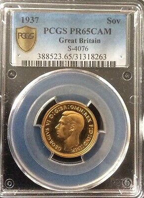 1937 George Vi Proof Gold Sovereign Pcgs Pr65 Cam