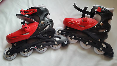 Monster Small Inline Skates - Red and Black Size 5-7 Kids